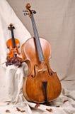 Violino e violoncello su fondo beige Fotografia Stock