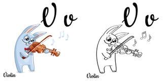 Violino Lettera V, pagina di coloritura di alfabeto di vettore Royalty Illustrazione gratis