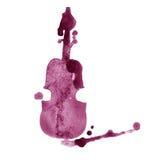 Violino marrom tirado mão do vinho da aquarela com respingo no fundo branco Imagem de Stock Royalty Free