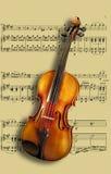 Violino na música de folha Fotografia de Stock Royalty Free