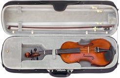 Violino no entalhe da caixa fotografia de stock royalty free