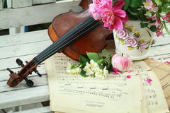 Violino, notas e ramalhete antigos da mola Fotografia de Stock