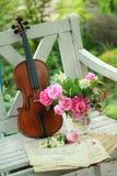 Violino, notas e ramalhete antigos da mola Foto de Stock