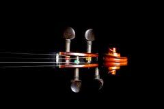 Violino Peg Head su fondo nero immagine stock