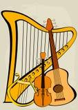 Violino, quitar, lyre, harpa e notas Fotos de Stock