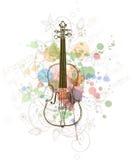 Violino, strati di musica sulla vernice di colore Fotografia Stock Libera da Diritti