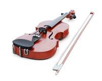 Violino su priorità bassa bianca rappresentazione 3d Immagine Stock