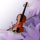 Violino sulla porpora Fotografia Stock