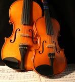 Violinos & música Foto de Stock Royalty Free