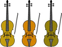 Violins. This is a drawn of a violin in different colors Royalty Free Stock Image