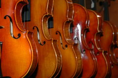 Violins. A display of beautiful violins just itching to play a tune Stock Image