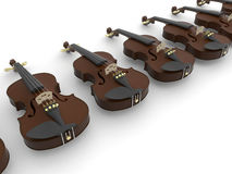 Violins array. 3D rendered illustration of multiple violins arranged in a linear pattern. The composition is  on a white background with shadows Stock Photo