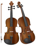 Violins with Bow Illustration. Violins in two perspectives with Bow Illustration Isolated on White Background Royalty Free Stock Photography