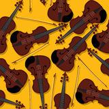 Violins and bow pattern Royalty Free Stock Photo