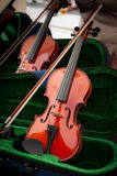 Violins in Open Cases Stock Images