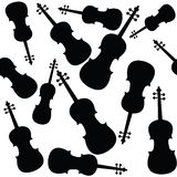Violins pattern. Violins silhouettes pattern over white background Stock Image