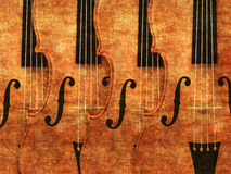 Violins in a row. Grunge illustration of 3d violinds in a row background Stock Image
