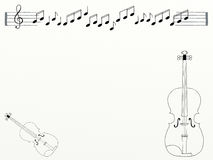 Violins. Simple hand drawn background illustration with musical notes and violins Stock Photo