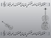 Violins. Simple hand drawn background illustration with musical notes and violins Royalty Free Stock Photo