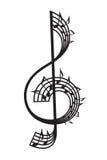 Violinschlüssel und Anmerkungen Stockbild