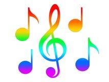 Violinschlüssel und Anmerkungen in den Farben des Regenbogens auf dem weißen Hintergrund Lizenzfreies Stockfoto