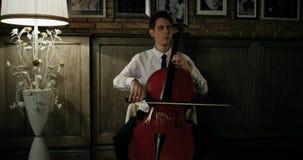 Violist Plays Beautifully At Romantische Diner 4K Algemeen Plan stock footage