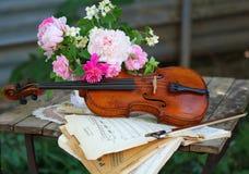 Violín, notas y ramo antiguos del resorte Fotos de archivo