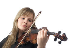 Violín que juega femenino lindo Fotografía de archivo