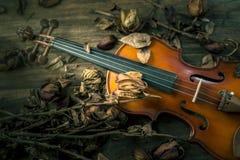 Violon dans le style de vintage sur le fond en bois Photo stock