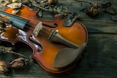 Violon dans le style de vintage sur le fond en bois Photo libre de droits