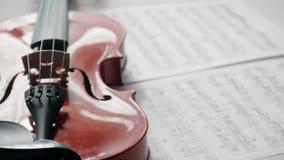 Violon de Brown avec les notes musicales sur un fond blanc tournant et filtrant la longueur Concept de présentation clips vidéos