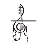 Violon et clef triple Images stock