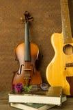 Violon et guitare dans le style de vintage Image stock