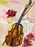 Violon et roses illustration de vecteur