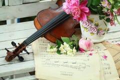 Violon, notes et bouquet antiques de source Photographie stock