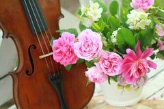 Violon, notes et bouquet antiques de source Photos stock