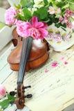 Violon, notes et bouquet antiques de source Photographie stock libre de droits