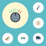 Violon plat d'icônes, clavier d'octave, instrument de musique et d'autres éléments de vecteur Ensemble de Melody Flat Icons Symbo Images libres de droits