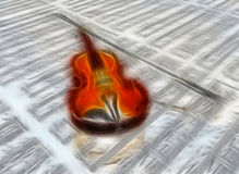 Violon soustrait sur le contexte de musique de feuille Image stock