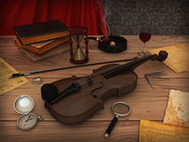 Violon sur la table Photographie stock libre de droits