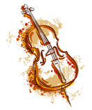 Violoncell i vattenfärgstil Arkivbild