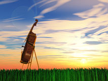 Violoncell på gräs stock illustrationer