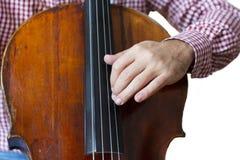 Violoncell som spelar cellisthänder som är nära upp isolerad bild för orkester instrument på vit bakgrund arkivfoton