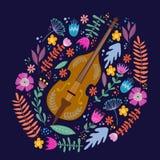 Violoncelle d'isolement et feuilles et fleurs lumineuses sur le fond bleu Main dessinant le vecteur plat folklorique de griffonna illustration libre de droits
