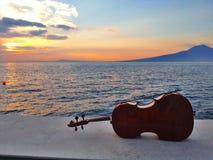 Violoncelle à un coucher du soleil Photographie stock