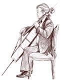 Violoncellist royalty free illustration