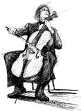 Violoncellist. Illustration of a violoncellist playing Stock Photo