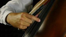 Violoncellista che gioca sul violoncello Strimpelli le corde stock footage