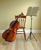 Violoncellkonsert eller högläsning Arkivfoto