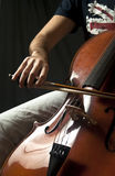 The Violoncello. Detail of a person playing the violoncello Stock Photo